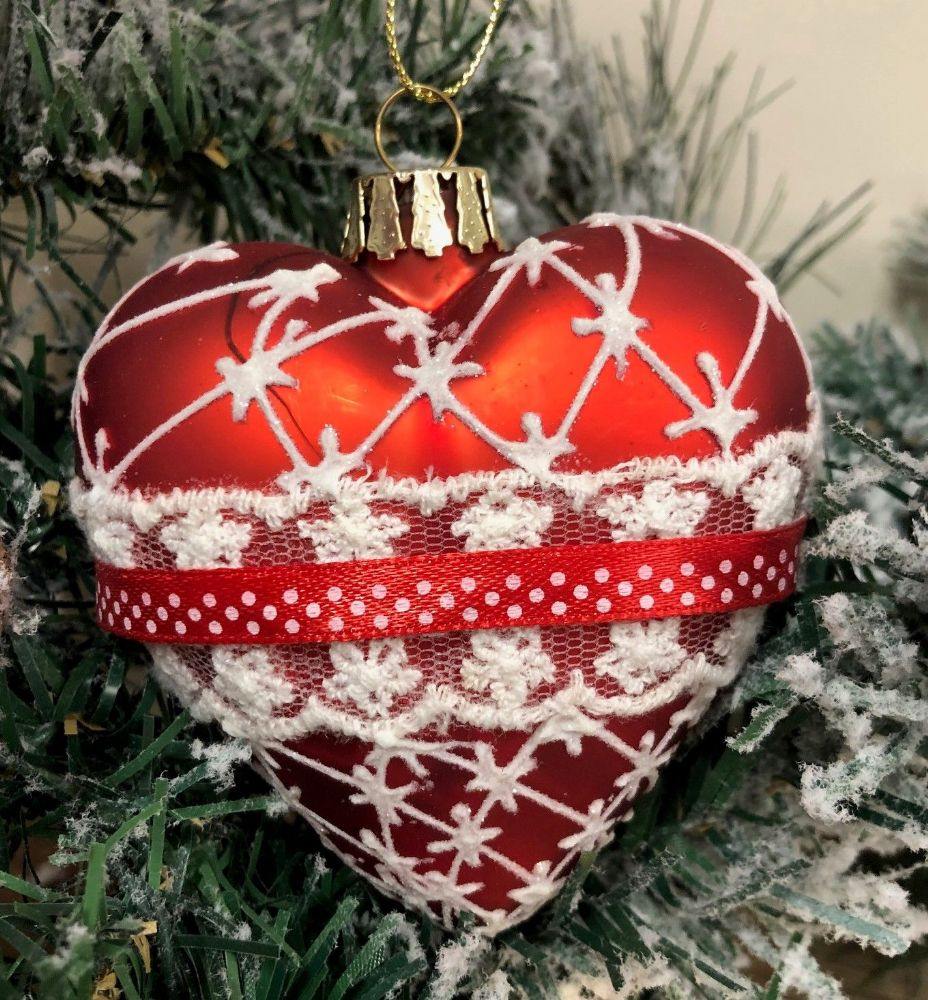 8cm Red Heart Christmas Bauble with Lace & Ribbon Detail